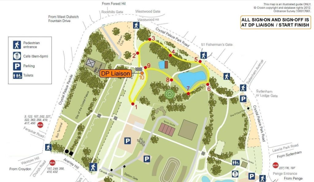 Map of Crystal Palace cycling circuit